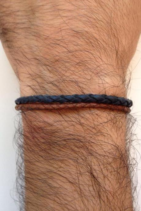 Men Bracelet 153- leather braid blue brown trendy friendship cuff bracelet gift adjustable current unique