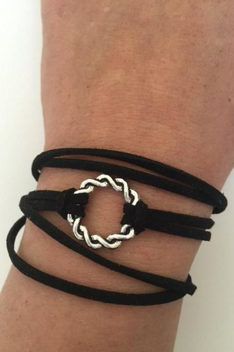 Karma Bracelet 266 - friendship faith cuff bracelet karma positive energy gift adjustable current womenswear faux suede