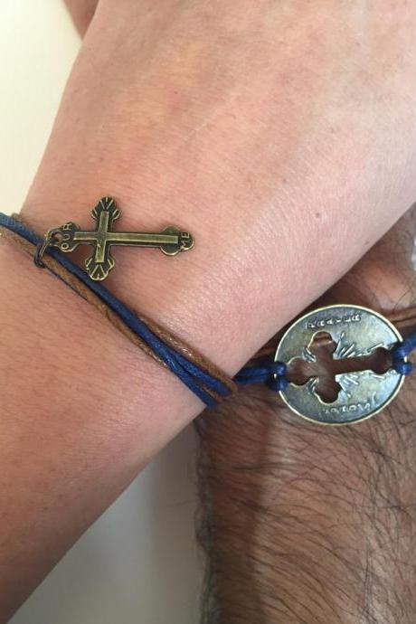 Matching Couples Men Women Bracelets 269- cross round charm friendship love cuff bronze bracelet waxed cotton blue navy brown gift adjustable current