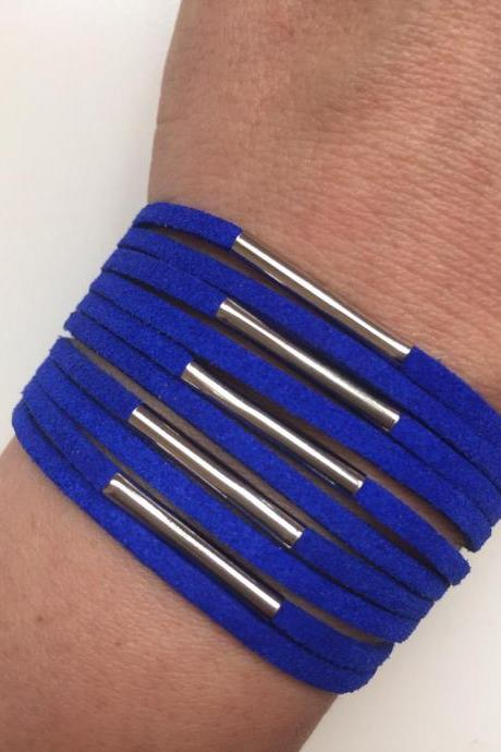 Faux suede Bracelet 194- friendship blue faux suede cuff bracelet metal tube gift adjustable current womenswear unique