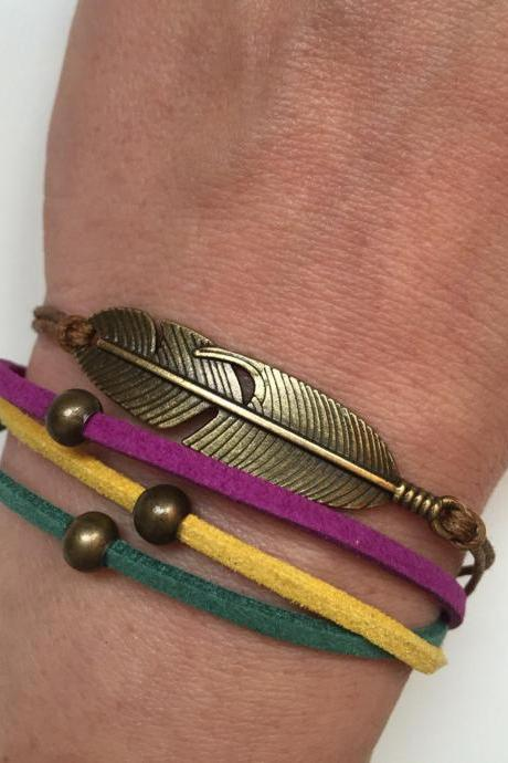Feather Bracelet 205- friendship cuff feather bracelet purple yellow hippie bronze balls gift adjustable current womenswear trendy