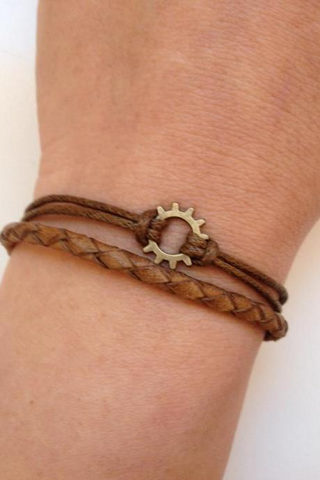 Leather Bracelet 182- friendship cuff gear bracelet brown leather braid gift adjustable current womenswear trendy innovative