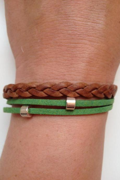 Leather Bracelet 30 - friendship cuff ring bracelet brown green leather braid gift adjustable current womenswear unique innovative
