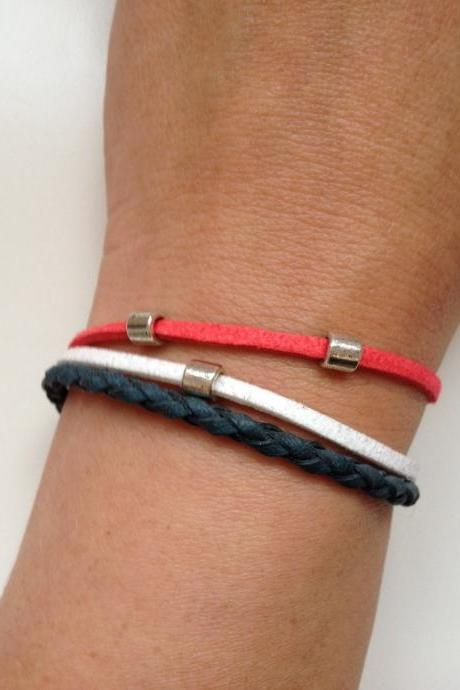Leather Bracelet 129 - new york giants cuff ring bracelet blue navy red white leather braid gift adjustable current womenswear football