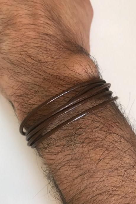 Leather Man Bracelet 237- leather brown magnet closer trendy friendship cuff bracelet gift current unique