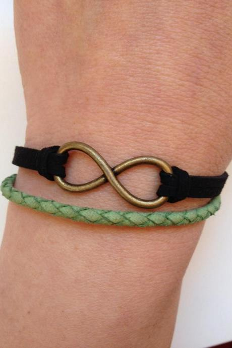 Leather Bracelet 186- friendship cuff infinity bracelet black green leather braid gift current womenswear trendy innovative