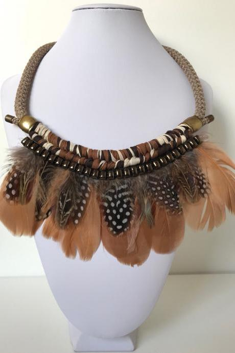 Feathers necklace 263- brown goose feathers aged gold boho chic jewelry necklace gift
