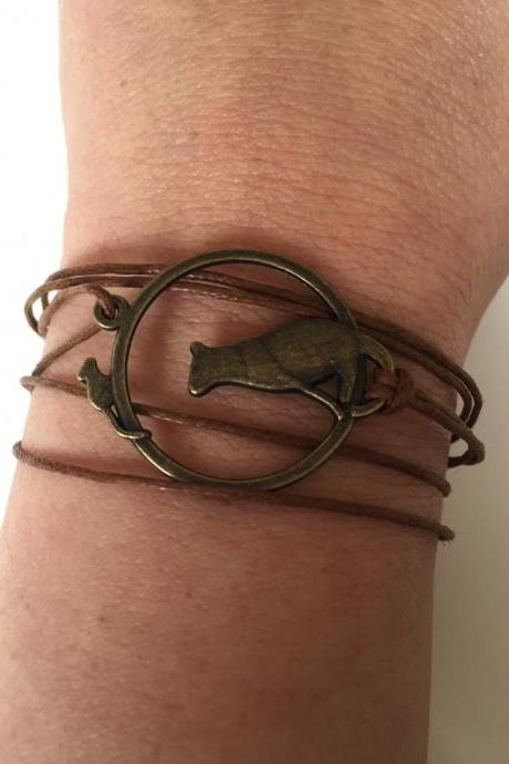 Cat and mouse bracelet 288- friendship cat and mouse charm brown waxed cotton bracelet gift adjustable current womenswear unique wrapped