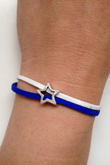 Dallas Cowboys 124- friendship football faux suede blue white star bracelet gift adjustable current womenswear autumn winter unique