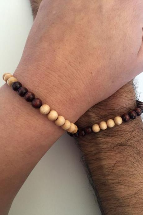 Couples Men Women Bracelets 259- love friendship bracelet boyfriend girlfriend wood beads lovers fall gift