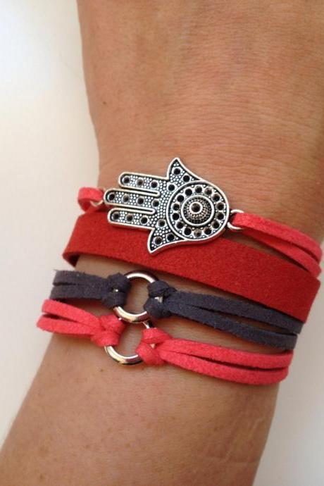 Hamsa Bracelet 46 - faith friendship cuff hamsa bracelet faux suede red grey gift adjustable current womenswear unique innovative