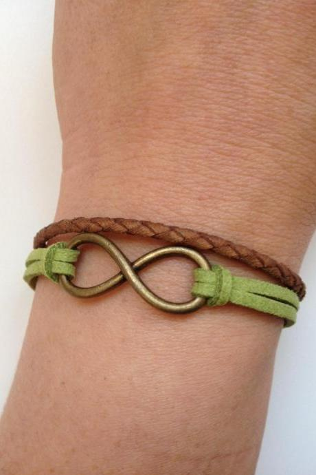 Leather Bracelet 136- friendship cuff infinity bracelet brown green leather braid gift adjustable current womenswear trendy innovative