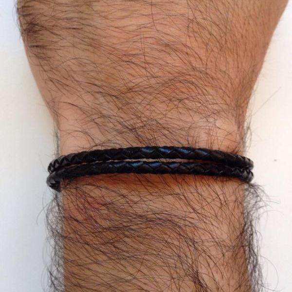 Men Bracelet 154- genuine leather braid black trendy friendship cuff bracelet gift adjustable current man fashion jewelry